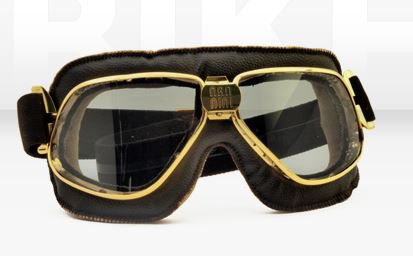 biker goggles  Biker Goggles Gold Brass Brown Leather